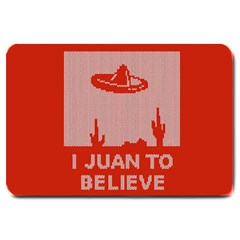 I Juan To Believe Ugly Holiday Christmas Red Background Large Doormat  by Onesevenart