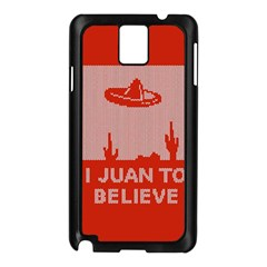 I Juan To Believe Ugly Holiday Christmas Red Background Samsung Galaxy Note 3 N9005 Case (black) by Onesevenart