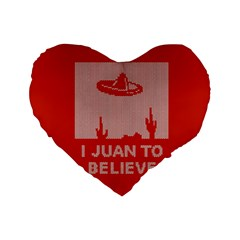I Juan To Believe Ugly Holiday Christmas Red Background Standard 16  Premium Flano Heart Shape Cushions by Onesevenart