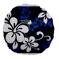 Blue Hibiscus Large 18  Premium Round Cushions