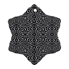 Black And White Tribal Pattern Snowflake Ornament (2 Side) by dflcprints