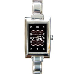 I Wasn t Good This Year, I Was Awesome! Ugly Holiday Christmas Black Background Rectangle Italian Charm Watch by Onesevenart