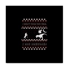 I Wasn t Good This Year, I Was Awesome! Ugly Holiday Christmas Black Background Tile Coasters by Onesevenart