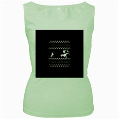 I Wasn t Good This Year, I Was Awesome! Ugly Holiday Christmas Black Background Women s Green Tank Top by Onesevenart