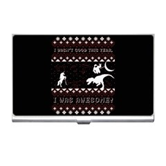 I Wasn t Good This Year, I Was Awesome! Ugly Holiday Christmas Black Background Business Card Holders by Onesevenart