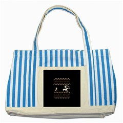 I Wasn t Good This Year, I Was Awesome! Ugly Holiday Christmas Black Background Striped Blue Tote Bag by Onesevenart
