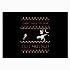 I Wasn t Good This Year, I Was Awesome! Ugly Holiday Christmas Black Background Large Glasses Cloth by Onesevenart