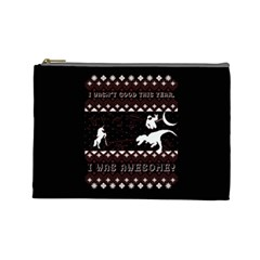 I Wasn t Good This Year, I Was Awesome! Ugly Holiday Christmas Black Background Cosmetic Bag (large)  by Onesevenart