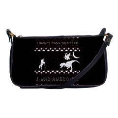 I Wasn t Good This Year, I Was Awesome! Ugly Holiday Christmas Black Background Shoulder Clutch Bags by Onesevenart