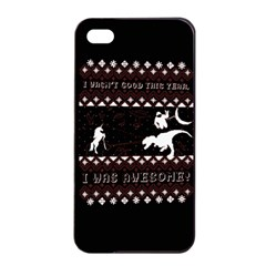 I Wasn t Good This Year, I Was Awesome! Ugly Holiday Christmas Black Background Apple Iphone 4/4s Seamless Case (black) by Onesevenart