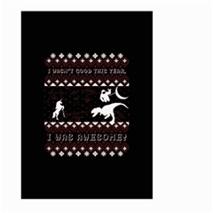 I Wasn t Good This Year, I Was Awesome! Ugly Holiday Christmas Black Background Large Garden Flag (two Sides) by Onesevenart