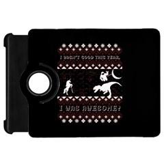 I Wasn t Good This Year, I Was Awesome! Ugly Holiday Christmas Black Background Kindle Fire Hd Flip 360 Case by Onesevenart