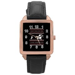 I Wasn t Good This Year, I Was Awesome! Ugly Holiday Christmas Black Background Rose Gold Leather Watch  by Onesevenart