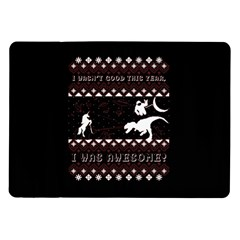 I Wasn t Good This Year, I Was Awesome! Ugly Holiday Christmas Black Background Samsung Galaxy Tab 10 1  P7500 Flip Case by Onesevenart