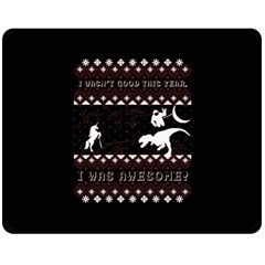 I Wasn t Good This Year, I Was Awesome! Ugly Holiday Christmas Black Background Double Sided Fleece Blanket (medium)  by Onesevenart
