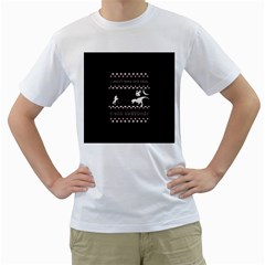 I Wasn t Good This Year, I Was Awesome! Ugly Holiday Christmas Black Background Men s T Shirt (white)  by Onesevenart