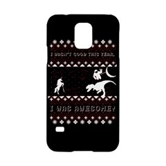 I Wasn t Good This Year, I Was Awesome! Ugly Holiday Christmas Black Background Samsung Galaxy S5 Hardshell Case  by Onesevenart