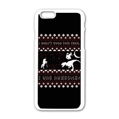 I Wasn t Good This Year, I Was Awesome! Ugly Holiday Christmas Black Background Apple Iphone 6/6s White Enamel Case by Onesevenart