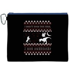 I Wasn t Good This Year, I Was Awesome! Ugly Holiday Christmas Black Background Canvas Cosmetic Bag (xxxl) by Onesevenart