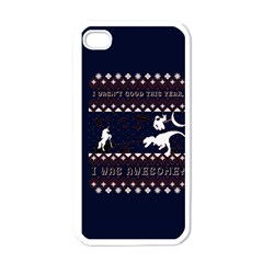 I Wasn t Good This Year, I Was Awesome! Ugly Holiday Christmas Blue Background Apple Iphone 4 Case (white) by Onesevenart