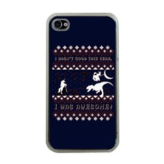 I Wasn t Good This Year, I Was Awesome! Ugly Holiday Christmas Blue Background Apple Iphone 4 Case (clear) by Onesevenart