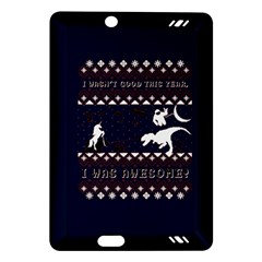 I Wasn t Good This Year, I Was Awesome! Ugly Holiday Christmas Blue Background Amazon Kindle Fire Hd (2013) Hardshell Case by Onesevenart