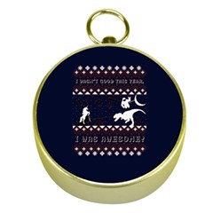 I Wasn t Good This Year, I Was Awesome! Ugly Holiday Christmas Blue Background Gold Compasses by Onesevenart