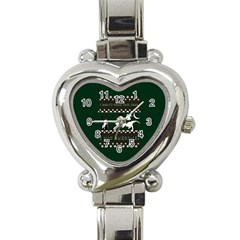 I Wasn t Good This Year, I Was Awesome! Ugly Holiday Christmas Green Background Heart Italian Charm Watch by Onesevenart