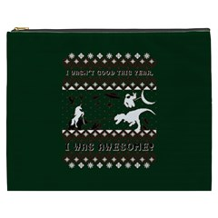 I Wasn t Good This Year, I Was Awesome! Ugly Holiday Christmas Green Background Cosmetic Bag (xxxl)  by Onesevenart