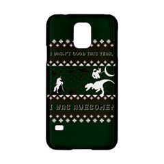 I Wasn t Good This Year, I Was Awesome! Ugly Holiday Christmas Green Background Samsung Galaxy S5 Hardshell Case  by Onesevenart