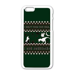 I Wasn t Good This Year, I Was Awesome! Ugly Holiday Christmas Green Background Apple Iphone 6/6s White Enamel Case by Onesevenart