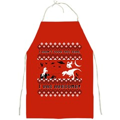 I Wasn t Good This Year, I Was Awesome! Ugly Holiday Christmas Red Background Full Print Aprons by Onesevenart