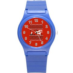 I Wasn t Good This Year, I Was Awesome! Ugly Holiday Christmas Red Background Round Plastic Sport Watch (s) by Onesevenart