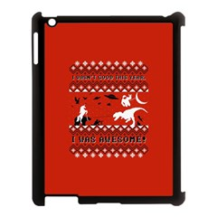 I Wasn t Good This Year, I Was Awesome! Ugly Holiday Christmas Red Background Apple Ipad 3/4 Case (black) by Onesevenart