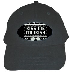Kiss Me I m Irish Ugly Christmas Black Background Black Cap by Onesevenart