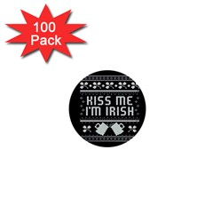 Kiss Me I m Irish Ugly Christmas Black Background 1  Mini Buttons (100 Pack)  by Onesevenart