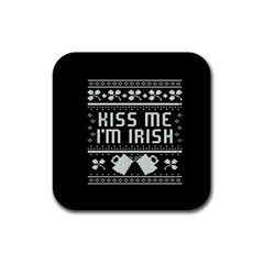 Kiss Me I m Irish Ugly Christmas Black Background Rubber Coaster (square)  by Onesevenart