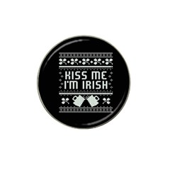 Kiss Me I m Irish Ugly Christmas Black Background Hat Clip Ball Marker (4 Pack) by Onesevenart