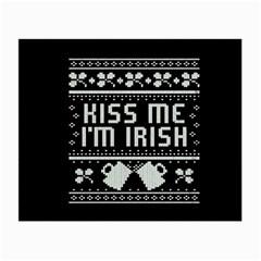 Kiss Me I m Irish Ugly Christmas Black Background Small Glasses Cloth by Onesevenart