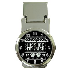 Kiss Me I m Irish Ugly Christmas Black Background Money Clip Watches by Onesevenart