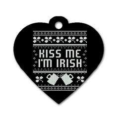 Kiss Me I m Irish Ugly Christmas Black Background Dog Tag Heart (one Side) by Onesevenart