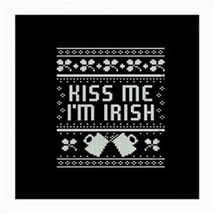 Kiss Me I m Irish Ugly Christmas Black Background Medium Glasses Cloth by Onesevenart
