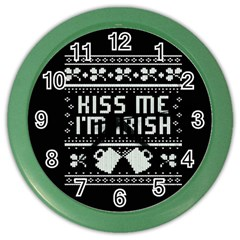 Kiss Me I m Irish Ugly Christmas Black Background Color Wall Clocks by Onesevenart
