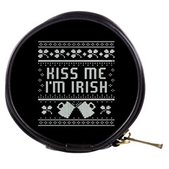 Kiss Me I m Irish Ugly Christmas Black Background Mini Makeup Bags by Onesevenart