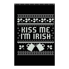 Kiss Me I m Irish Ugly Christmas Black Background Shower Curtain 48  X 72  (small)  by Onesevenart