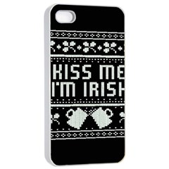 Kiss Me I m Irish Ugly Christmas Black Background Apple Iphone 4/4s Seamless Case (white) by Onesevenart