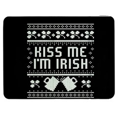 Kiss Me I m Irish Ugly Christmas Black Background Samsung Galaxy Tab 7  P1000 Flip Case by Onesevenart