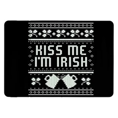 Kiss Me I m Irish Ugly Christmas Black Background Samsung Galaxy Tab 8 9  P7300 Flip Case by Onesevenart