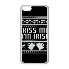 Kiss Me I m Irish Ugly Christmas Black Background Apple Iphone 5c Seamless Case (white) by Onesevenart