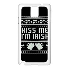 Kiss Me I m Irish Ugly Christmas Black Background Samsung Galaxy Note 3 N9005 Case (white) by Onesevenart